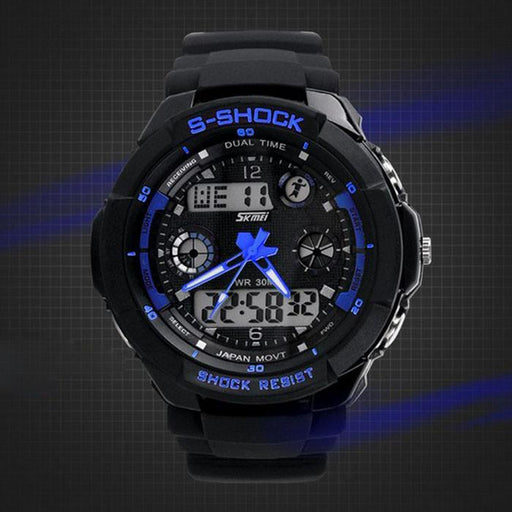 Mortal Survival Watch Blue Multi Function Military S-Shock Sports Watch LED Waterproof Alarm