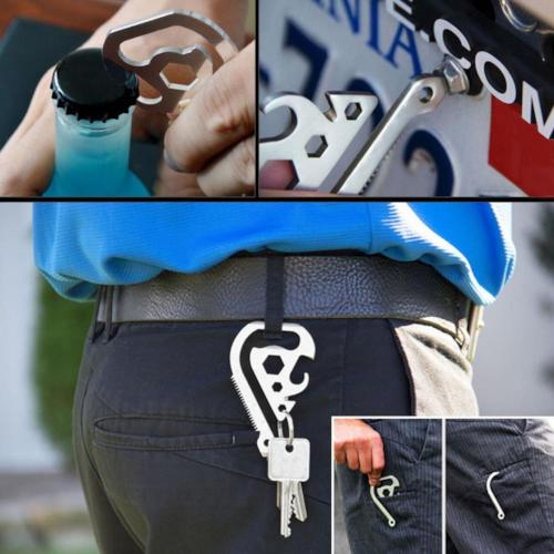 (NEW) Outdoor Multi-function EDC Tool Key Buckle Clip Saw Bottle Opener Backpack Clip Wrench Tool Pocket Camping Equipment
