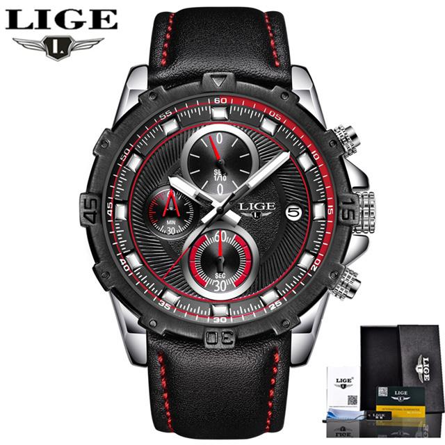 Relogio Masculino LIGE Men's Quartz Watch with Leather Band