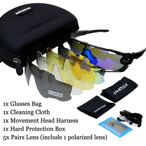 Polarized Cycling Sunglasses Mountain Bike Goggles 5 Lens UV400 Cycling & Bicycle Eyewear