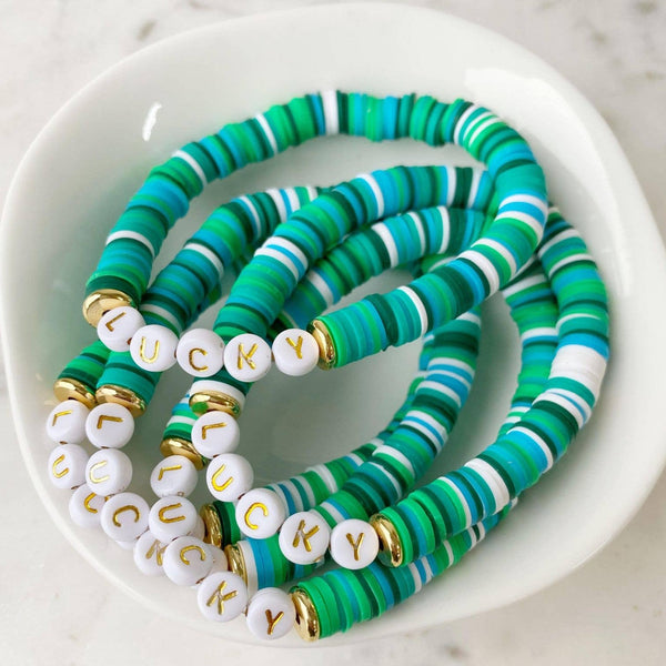 """Lucky"" Green Multi Color Pop Bracelet"