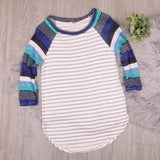 Shades Of Blue Striped Raglan