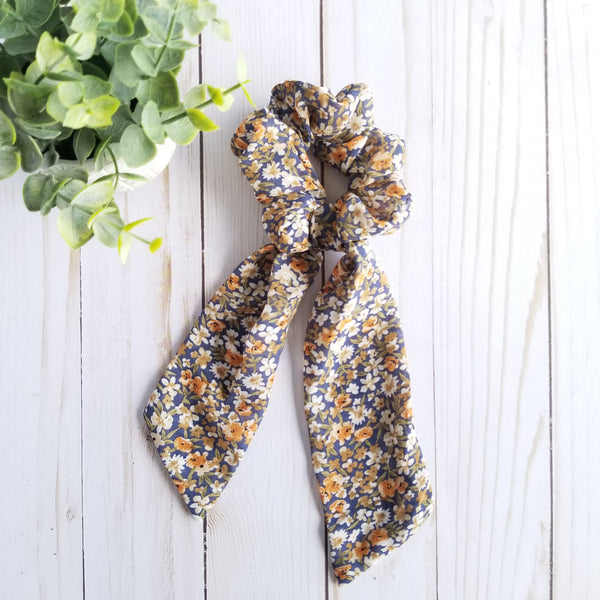 Gray Floral Scarf Scrunchie