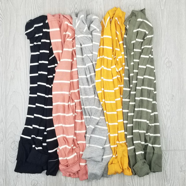 Striped Snap Up Cardigan • Plus Size