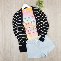 Striped Snap Up Cardigan