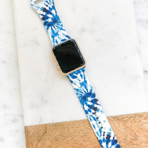 Tie Dye Printed Silicone Smart Watch Band - Blue/White
