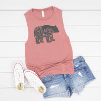 Floral Mama Bear Muscle Tank • More Colors