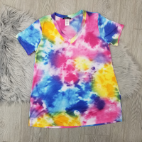 Trendy Tie Dye Top - Blue Fuschia