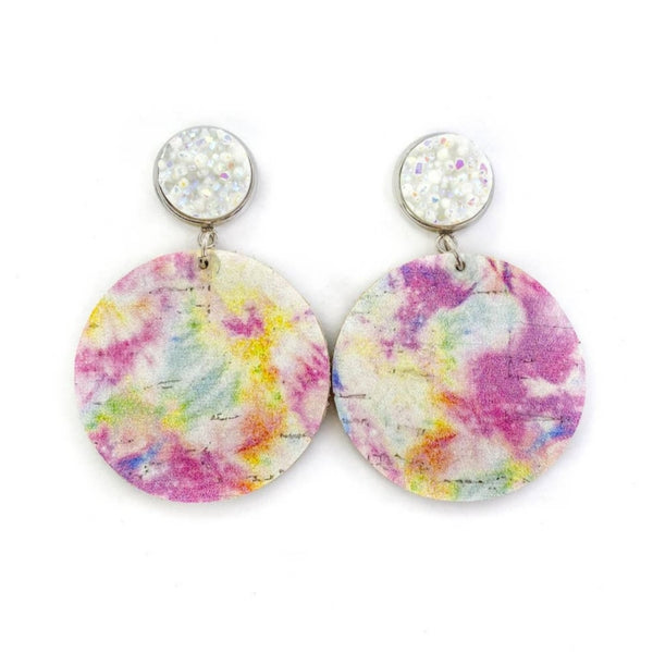 Druzy Stud and Tie Dye Leather Earrings