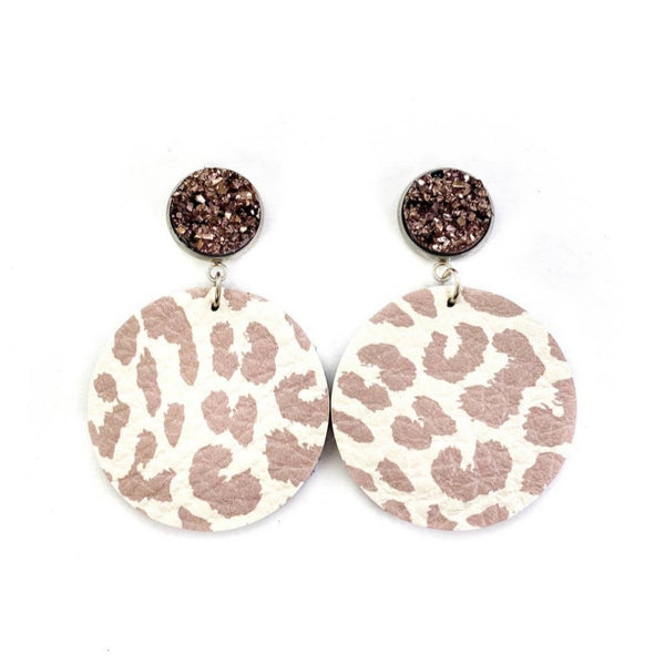 Druzy Stud Tan Leather Earrings