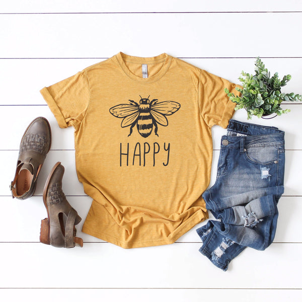 Bee Happy Tee • Mustard