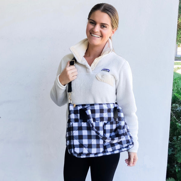 Puffer Messenger Bag - Black and White Plaid