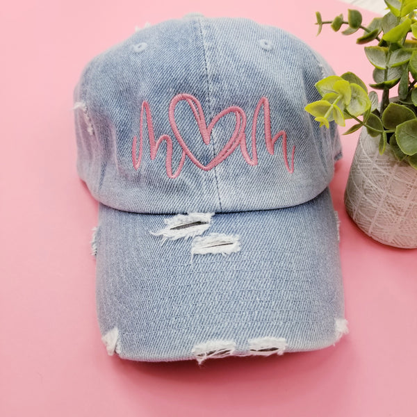 Denim Distressed Mom Hat • Heart