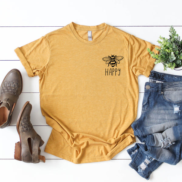 Bee Happy • Left Chest Mustard Tee