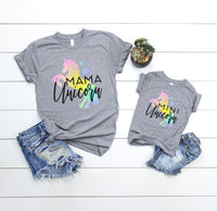 Mama Unicorn & Mini Unicorn Shirt Set • Gray