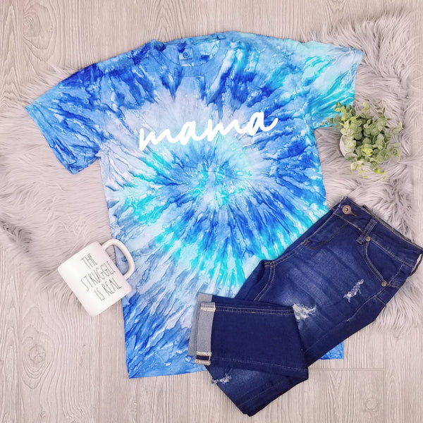 Scripted Mama • Blue Tie Dye Short Sleeve