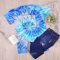 Mama Square Design • Blue Tie Dye Short Sleeve