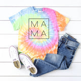 Mama Square Design • Tie Dye Short Sleeve