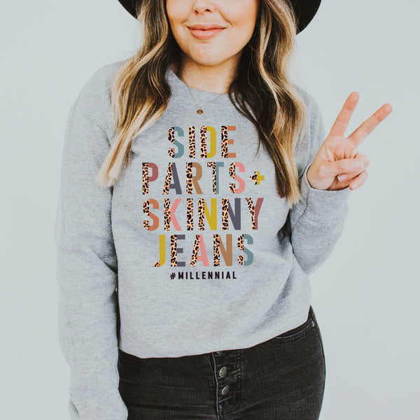 Side Part and Skinny Jeans Colorful Leopard Sweatshirt • More Colors