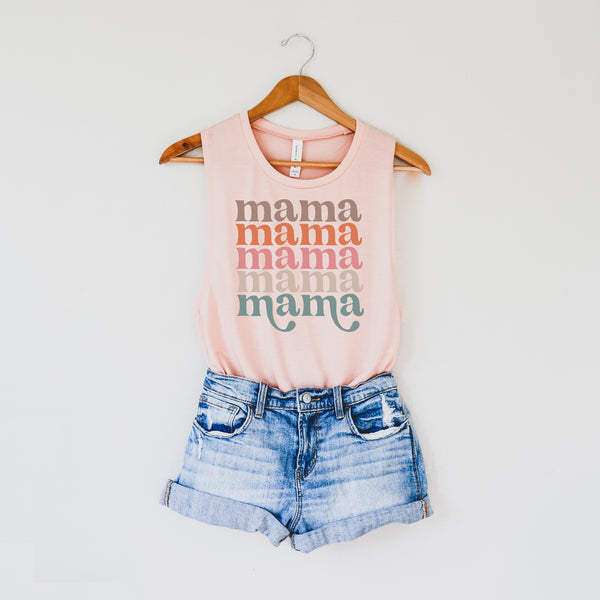 Retro Repeating Mama • Tank Peach