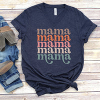 Retro Repeating Mama V-Neck • Navy