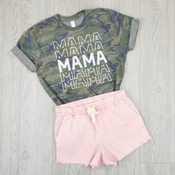 Mama (Repeating) Camo Tee