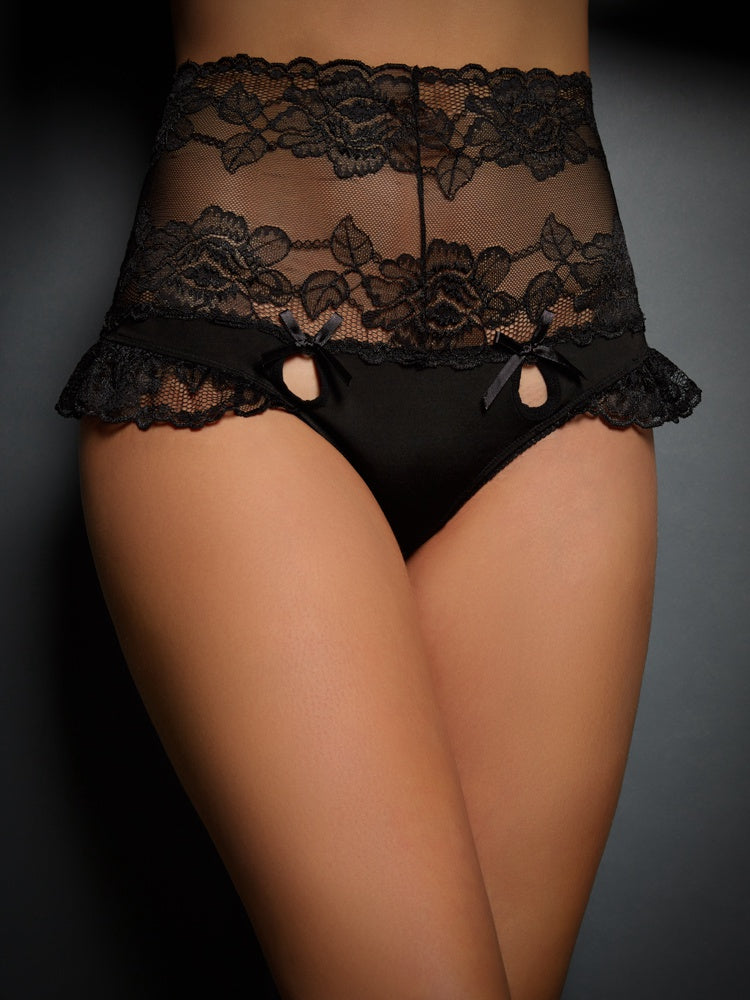 Queen Size High Waist Strappy Floral Black Lace Panty