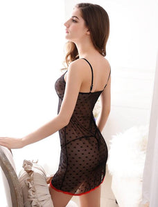 Sexy Dotted Black MeshBabydoll