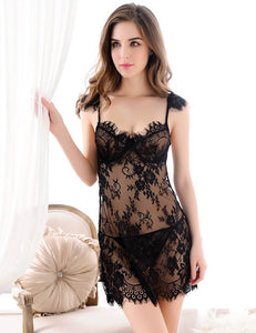 Black Beauty Lace Babydoll Set