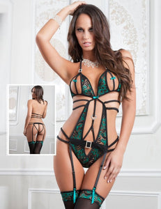 Flirty Peacock Green Teddy With Garter And Stocking