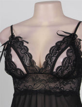 Black Sweetheart Scalloped Lace Decor Babydoll