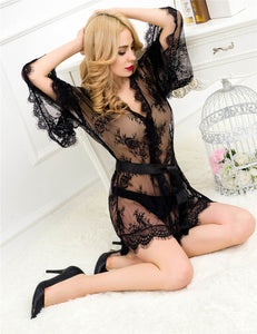 Black Glam Full Of Lace Boudoir Set