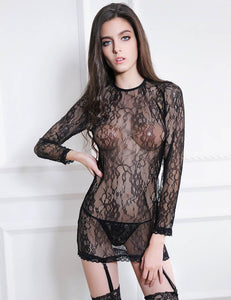 Black Long Sleeve Lace Floral Chemise