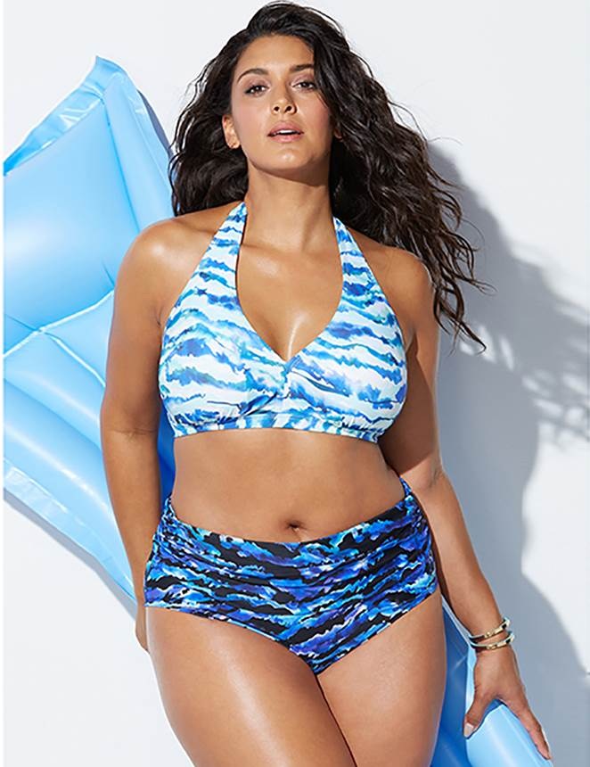 Plus Size Blue Fashion Print Sexy Summer Bikini Set