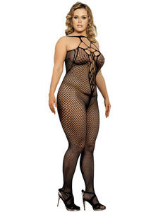 Plus Size Halter Sexy Neck Open Back Netted Bodystocking
