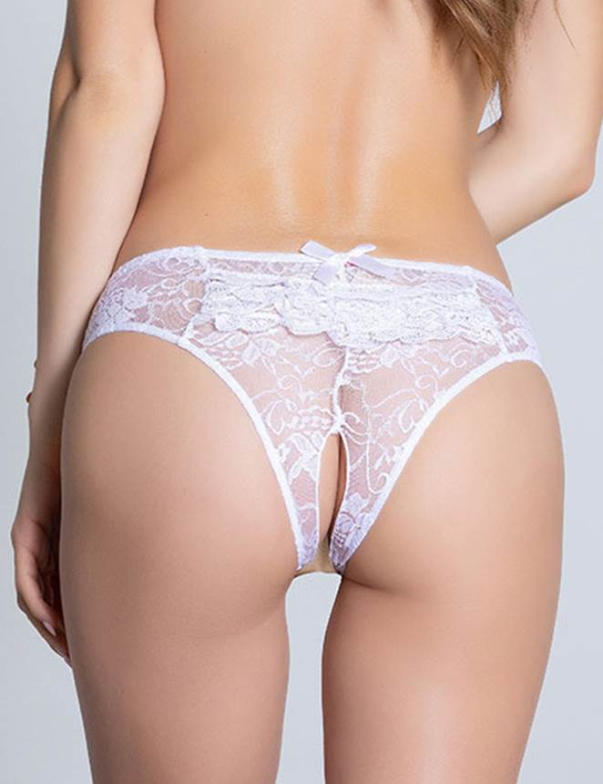 White Open Crotch Floral Lace Panty