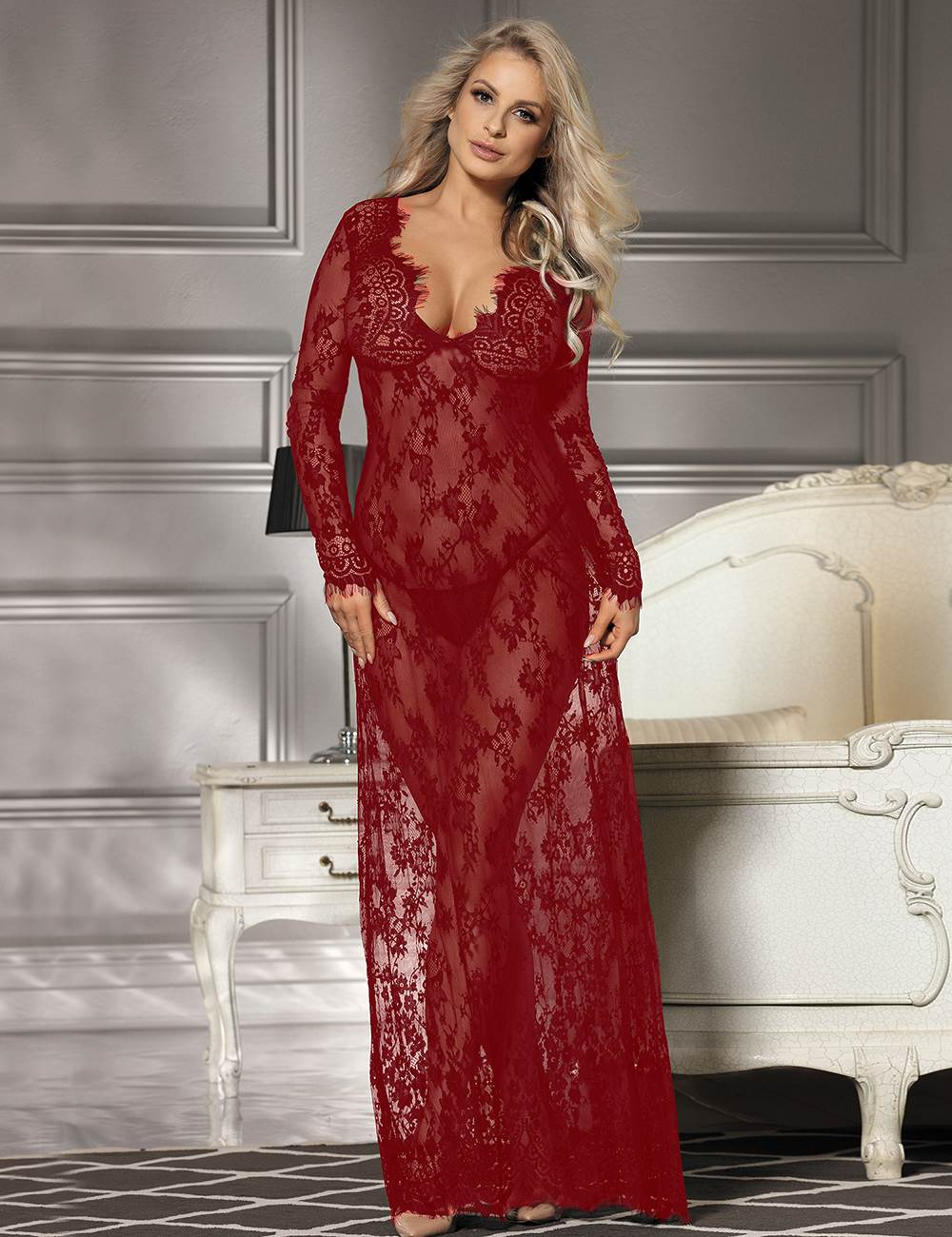 Wine Red Delicate Lace Long Sleepwear Gown