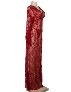 Plus Size Wine Red Delicate Lace Long Sleepwear Gown