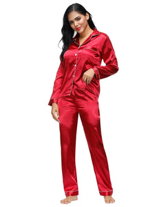 Wine Red Long Sleeve Silk Pajamas Set Two Piece Set