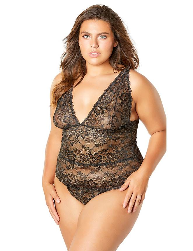 Plus Size Exquisite Black Lace Sexy Teddy