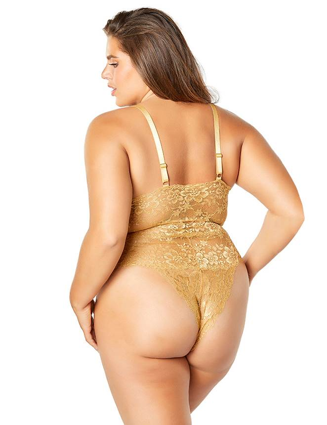 Plus Size Exquisite Yellow Lace Sexy Teddy