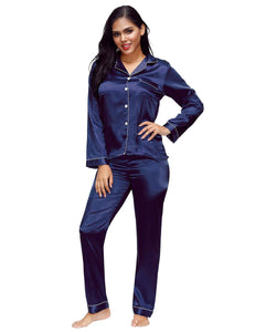 Dark Blue Long Sleeve Silk Pajamas Set Two Piece Set