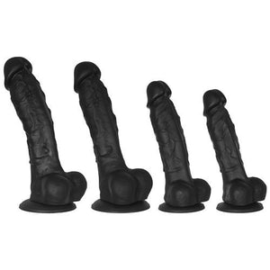 KOUDOU Black Mr Realist Luxury Silicone Dildo - 5, 5.5, 6.5 or 7.5 Inch Suction Cup Realistic Dildo Huge Dildos