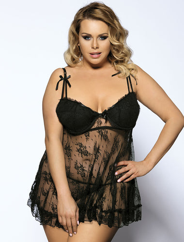 Black Scalloped Lace Ruffle Decor Plus Size Babydoll