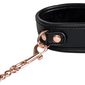 KOUDOU Beautifully Bound Black Faux Leather Collar with Rose Gold Leash