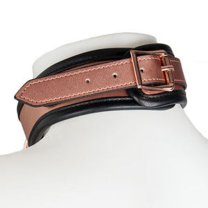 KOUDOU Beautifully Bound Rose Gold Real Leather Collar with Leash