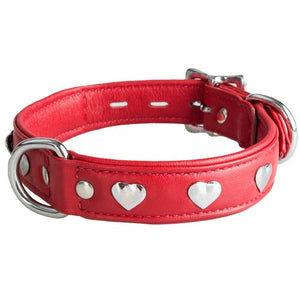 KOUDOU Lair Red Leather Studded Heart Collar