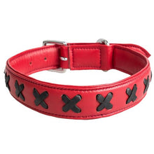 KOUDOU Lair Red and Black Leather Cross Collar