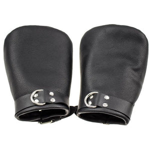 KOUDOU Black Faux Leather Bondage Mitts
