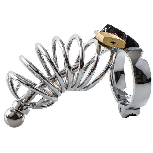KOUDOU Stainless Steel Chastity Cage with Penis Plug